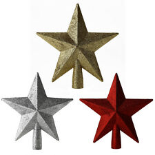 Christmas Tree Star Topper Xmas Decoration Star Baubles Silver Red Gold 20cm UK