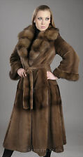 Princess sheared mink fur coat with sable fur collar