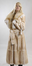 Perlato Full Length Mink Coat with Fox Collar
