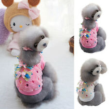 Small Pet Dog Cat Bow Sweater Pullover Puppy Warm Fleece Coat Clothes S-XXL G74