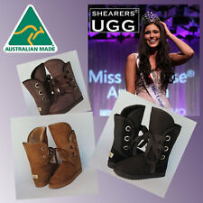 CLEARANCE - Australian HAND-MADE SHEARERS UGG Lace Up Roxy Short Sheepskin Boots