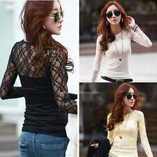 Women's Long Sleeve Sheer Lace Trim Sexy Slim Casual Bottoming T-Shirt Blouse