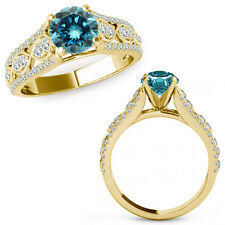 1 Ct Blue Diamond Lovely Solitaire Halo Anniversary Ring Band 14K Yellow Gold