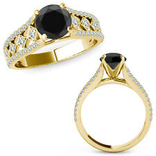 1 Ct Black Diamond Beautiful Solitaire Halo Engagement Ring Band 14K Yellow Gold
