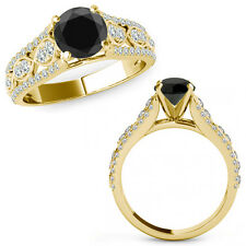 1 Ct Black Diamond Lovely Solitaire Halo Anniversary Ring Band 14K Yellow Gold