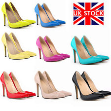 Womens Ladies High Heel Pointed Contrast Court Smart Party Work Shoes Pumps