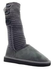 Girl's Rsb Anika Grey Knitted Button Mid Calf Slouch Boots New
