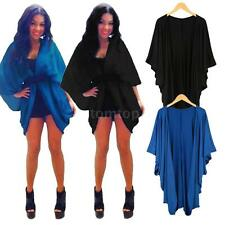Fashion Women Outerwear Open Front Batwing Sleeves Loose Long Cardigan Coat 7QK9