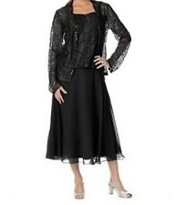 Mother of Bride Groom Wedding Black Lace Jacket dress formal Gown plus 1X 2X 3X