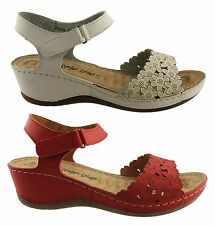 COMFORT LEISURE FRESH WOMENS/LADIES COMFY LIGHTWEGHT WEDGE SANDALS/SHOES/HEELS
