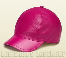 GUCCI fuchsia Perforated LEATHER metal Interlocking G Baseball Hat NWT Authentic