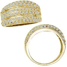 1 Ct G-H Diamond Fancy Cluster Engagement Wedding Promise Band 14K Yellow Gold
