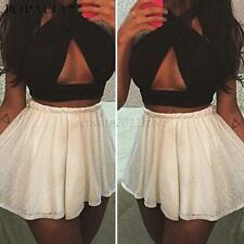 WOMEN NEW WRAP CROSS OVER SEXY STRETCH BANDAGE CROP TOP BRALET BUSTIER SHIRT A94