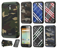 For Alcatel OneTouch Elevate Rubber IMPACT TRI HYBRID Case Skin Phone Cover