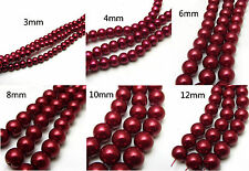 3mm/4mm/6mm/8mm/10mm/12mm Glass Pearl Round Spacer Charm Loose Beads Wine Red