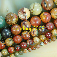 "4/6/8/10/12/14mm Natural Picasso Jasper Round Loose Beads 15"" Choose Size"