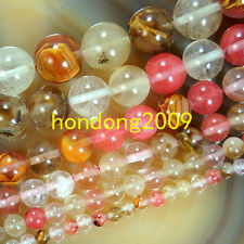"Natural 4/6/8/10/12/14mm  Watermelon  Quartz  Round Loose Beads 15"" Choose size"