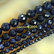 "Natural 4/6/8/10/12mm faceted Blue Goldstone Round Loose Beads 15"" Choose size"