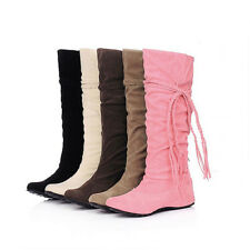 Women Straps Suede Round Toe Drape Knee High Anti-Slip Leather Flats Boots Shoes