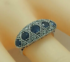 Sapphire, Sapphire, Diamonds, Ring, 925 Silver ~ ANTIQUE STYLE ~ STERLING SILVER