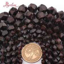 6.8.10.12mm Nautral Faceted Cube Red Garnet Gemstone Spacer Beads Strand 15""