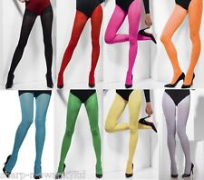 Ladies Black White Red Yellow Blue Green Orange Yellow Opaque Coloured Tights