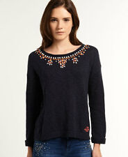 New Womens Superdry Icarus Embellished Knit Eclipse Navy