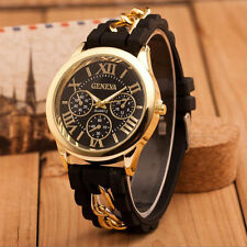 Fashion Women's Geneva Silicone Chain Analog Quartz Roman Numerals Wrist Watches