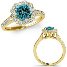 1.4 Carat Blue Square Princess Diamond Fancy Cluster Halo Ring 14K Yellow Gold