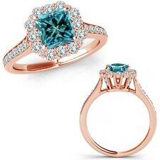 1.4 Carat Blue Square Princess Diamond Fancy Cluster Halo Ring 14K Rose Gold