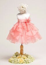 White Coral Flower Girl Baby Dress Pageant Wedding Easter Fancy Bridesmaid 808