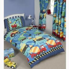 CONSTRUCTION TIME DIGGERS BOYS CURTAINS + DUVET COVERS SINGLE, TODDLER & DOUBLE
