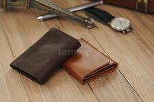New Men Money Clip Wallet Genuine Leather Card Holder Trifold Magnet Wallet E7LZ