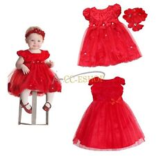 New Xmas Baby Girl Clothing Christmas Wedding Party Red Rose Flower Tutu Dresses