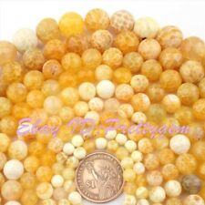 """Round Faceted Cracked Yellow Fire Agate Gemstone Beads 15"""" 4mm 6mm 8mm 10mm 12mm"""