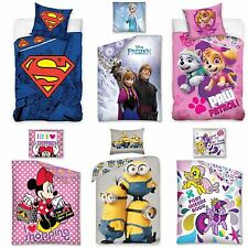 100% COTTON DISNEY AND CHARACTER SINGLE DUVET COVER SETS KIDS BEDROOM BEDDING