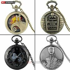 Vintage Quartz Pocket Watch Necklace The Nightmare Before Christmas Skeleton New