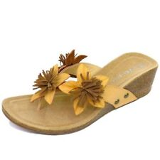 LADIES SAND TOE-POST SUMMER WEDGE FLOWER SANDALS FLIP-FLOP SHOES SIZES 3-8