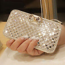 Luxury Bling Crystal Diamond Leather Wallet Case Cover Protect For iPhone Samsun