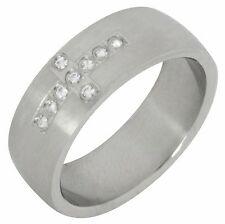 Stainless Steel Band Wedding Ring 9 Stone AAA Cubic Zircon Comfort Fit 8mm Mens