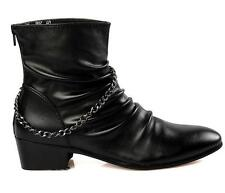 Fashion Mens High Top zip pointy toe cowboy cuben heel dress casual ankle boots