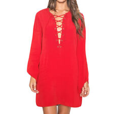 Women Split Neck Long Sleeves Lace Up Front Loose Fit Casual Tunic Dress
