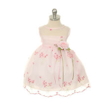 New Baby Infant Flower Girl Embroidered Pink Dress Wedding Pageant Easter 309