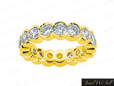 3.60Ct Round Cut Diamond Half Bezel Eternity Band Wedding Ring 14K Gold G SI1