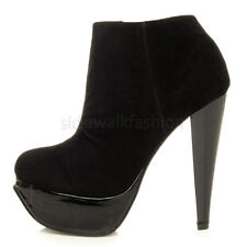 WOMENS LADIES PLATFORM HIGH HEEL ZIP SMART ANKLE SHOE BOOTS BOOTIES SIZE