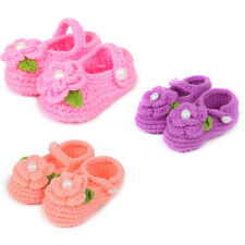 Cute Crib Crochet Shoes Casual Baby Girls Handmade Knit Rose Sock Infant Shoes