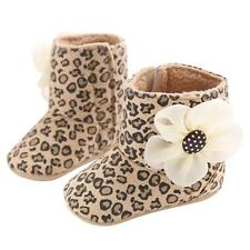 Baby Toddler Shoes Girl Boots Leopard New Snow Boots Soft Sole Flower Crib Shoes
