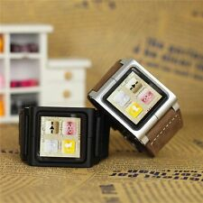 Hot Multi-Touch Wrist Strap Leather Watch Band for iPod Nano 6th Generation