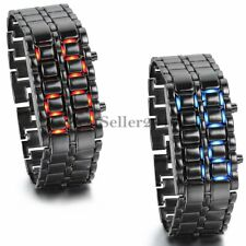 Fashion Unisex Metal Lava Iron Samurai LED Digital Faceless Bracelet Wrist Watch