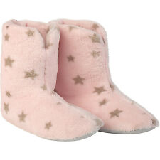 Womens Anti Slip Slipper Boots Womens Soft Fleece Pink with Brown Stars Booties